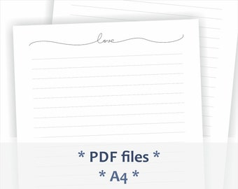 Printable letter writing paper. Minimalist letter header. One line word - Love. A4 size pdf file. Lined stationery.