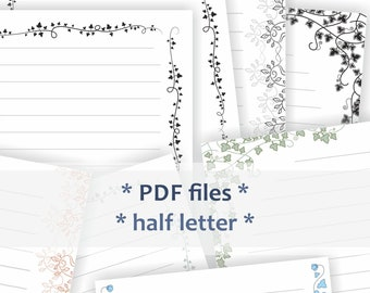Printable journal pages. Half letter size writing papers. Pack of four different designs.