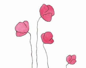 Contour Line Drawing Rose : Flowers line art sketch minimal floral print black etsy