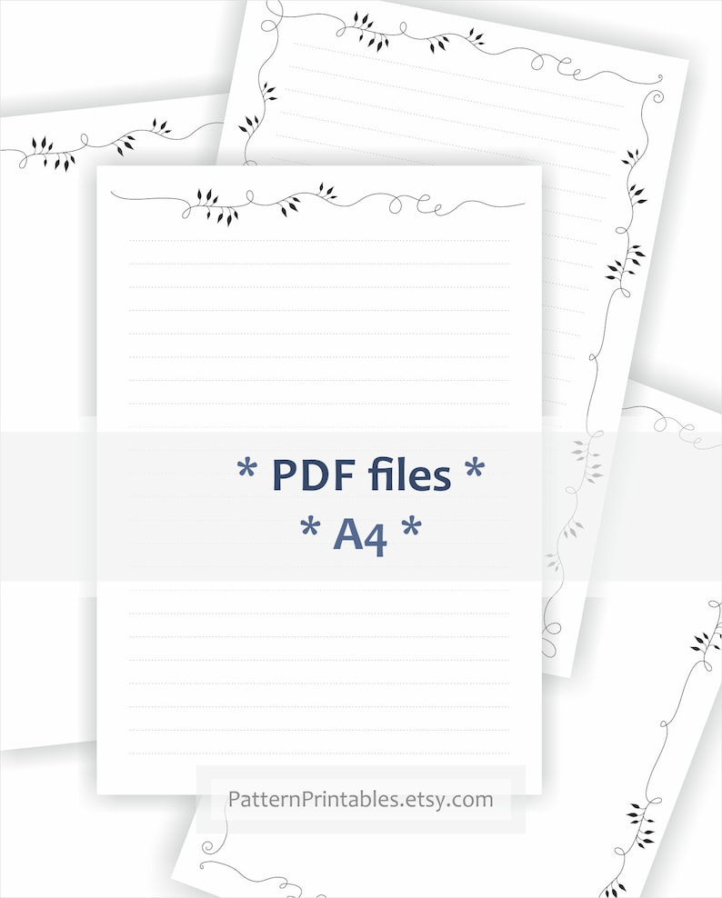 image regarding Printable Pdf Files identify Electronic A4 dimensions letter producing paper. Printable pdf document. Minimalist design and style with leaves border. Coated and non included models incorporated!