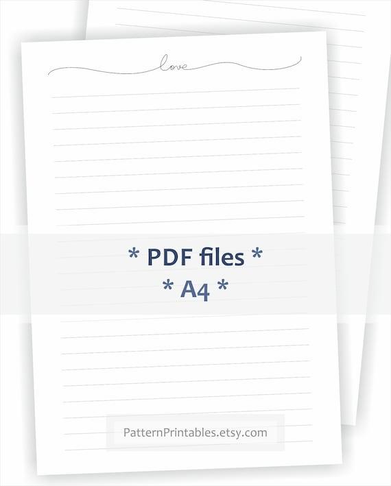 Printable Letter Writing Paper. Minimalist Letter Header. One Etsy