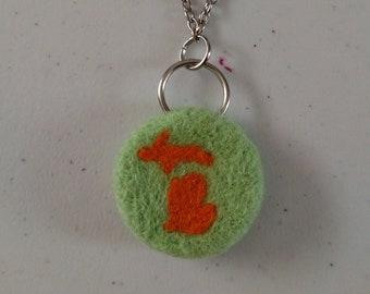 Michigan Felt Necklace - Green and Orange - Needle Felt Jewelry