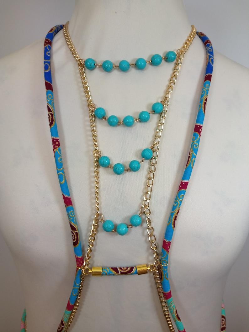 Ankara bib necklace Choker Big Rhinestone Body Necklace