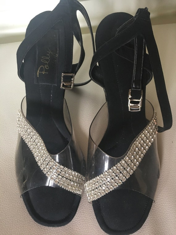 d8f58e0f4ec50 50's Vintage Shoes Heels - Rhinestone and Black Satin -1950's Dress Shoes  Peep Toe, Ankle Strap by Polly Size 7