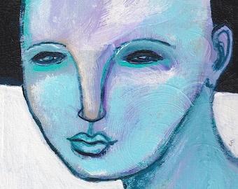 "8x10"" ART PRINT Portrait Folk Art Acrylic Acrylic Painting Outsider Face Wall Art Hallway Quirky Decor Housewarming Birthday Gift for Mom"