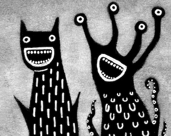 ACEO ART PRINT Monster Illustration Outsider Folk Art Trading Card Humour Creepy Weird Funny Quirky Cute Alien Birthday Housewarming Gifts