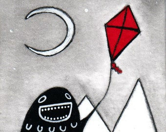 ACEO ART PRINT Kite Flying Monster Moon Painting Outsider Folk Art Miniature Collectible Trading Card Drawing Whimsical Weird Stuff Gifts
