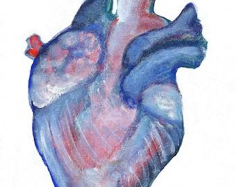 "8x10"" ART PRINT Anatomical Human Heart Folk Painting Canada Wall Art Body Anatomy Decor Abstract Illustration Eclectic Folk Art Weird Stuff"