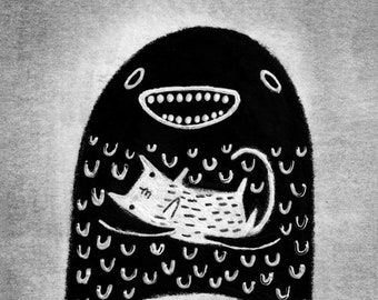 ACEO ART PRINT Monster and Cat Illustration Folk Art Trading Card Humour Creepy Weird Funny Quirky Cute Alien Birthday Housewarming Gifts
