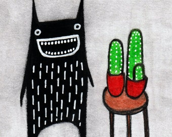 ACEO ART PRINT Cactus Monster Folk Art Trading Card Housewarming Gifts Funny Birthday for Mom Whimsical Spring Weird Plants Houseplants atc