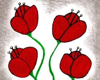 ACEO ART PRINT Poppy Flower Bouquet Garden Paintings Folk Art Trading Card Housewarming Gifts Whimsical Weird Stuff Plants Quirky Birthday
