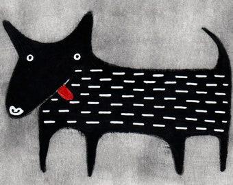 ACEO ART PRINT Black Lab Dog Illustration Folk Art Miniature Collectible Trading Card Whimsical Weird Stuff Cute Labrador Retriever Gifts