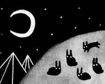 ACEO ART PRINT Black Rabbit Outsider Folk Art Illustration Abstract Crescent Moon Trading Card Creepy Cute Whimsical Landscape Weird Stuff