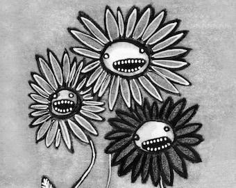 "5x7"" ART PRINT Flower Monster Folk Art Birthday Gift Whimsical Cute Weird Quirky Plants Strange Housewarming Gardening Creepy Halloween Card"