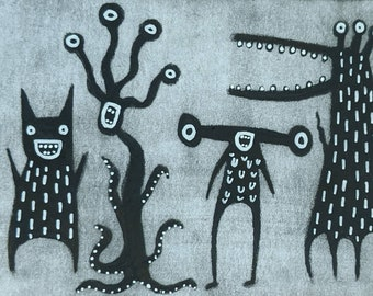ACEO ORIGINAL ART Monster Paintings Monsters Outsider Folk Art Miniature Collectible Trading Card Drawing Whimsical Creepy Weird Stuff Gifts