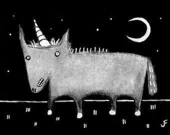 "5x7"" ART PRINT Weird Unicorn Moon Folk Art Birthday Gift Whimsical Creepy Cute Quirky Horse Strange Housewarming Horse Landscape Valentines"