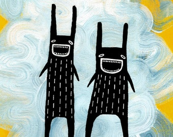 """8x10"""" ART PRINT Rabbit Monster Folk Art Painting Quirky Wall Art Whimsical Home Decor Gifts Made in Canada Funny Best Friend Birthday Gift"""