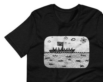 STRAIGHT CUT T-SHIRT Black Cat Shirt Folk Art Print Birthday Housewarming Gifts Funny Shirts Cat Fishing Artwork Gifts Outsider Art Ocean