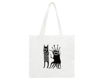 Monsters Medium Cotton Tote Bag Folk Art Print Monster Birthday Gifts Housewarming Grocery Shopping Bag Cute Weird Funny Halloween Monster