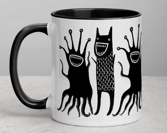 Monster Coffee Mug Folk Art Print Housewarming Birthday Gifts Illustration Funny Creepy Weird Stuff Quirky Tea Ceramic Halloween Gift Mug