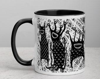 COFFEE MUG Monster Folk Art Print Housewarming Birthday Gifts Illustration Funny Creepy Weird Stuff Quirky Tea Gift Ceramic Easter Gifts