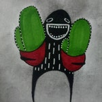 Cactus Monster Original Paintings ACEO Outsider Folk Art Miniature Collectible Trading Card Drawing Whimsical Creepy Weird Stuff Gifts ATC