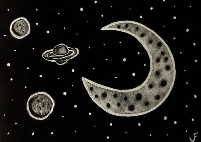ACEO Original Space Illustration Outsider Folk Art Miniature image 0