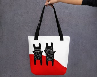 TOTE BAG Monster Folk Art Print Birthday Housewarming Gifts Whimsical Cute Quirky Weird Halloween Grocery Shopping Bag Funny Christmas Gifts