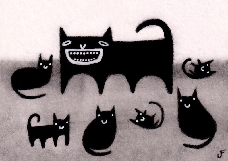 ACEO ART PRINT Black Cat Folk Art Miniature Collectible Card image 0