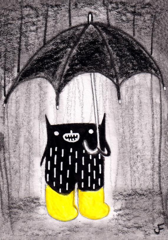 ACEO ART PRINT Black Cat Spring Rain Umbrella Folk Art Miniature Collectible Card Illustration Weird Stuff Birthday Gift for Mom Cute Gifts
