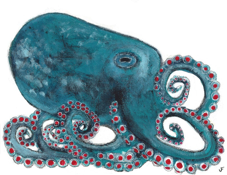 ACEO ART PRINT Octopus Painting Housewarming Gifts Ocean Home image 0