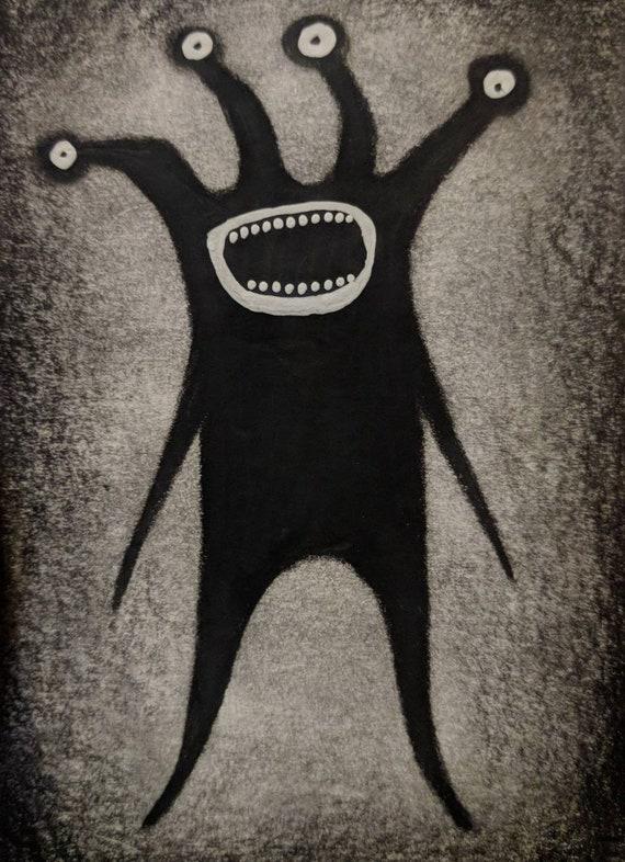 Original Monster Art Aceo Horror Outsider Folk Art Scary Etsy
