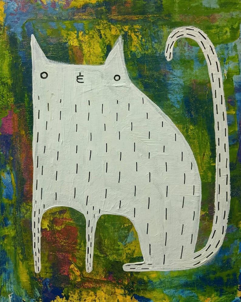 8X10 ORIGINAL ART White Cat Folk Painting Stretched image 0