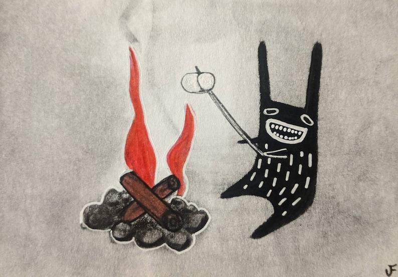 ACEO Monster Roasting a Marshmallow Original Illustration image 0