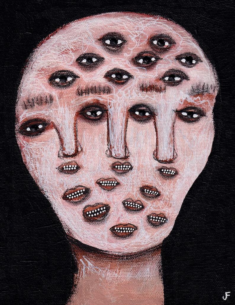 8x10 Monster Art Print Folk Art Painting Creepy Outsider image 0
