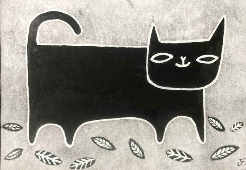Black Cat Original ACEO Folk Outsider Art Cat Miniature image 0