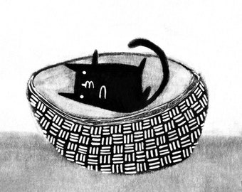 ACEO ART PRINT Black Cat in Basket Folk Art Miniature Collectible Card Drawing Illustration Housewarming Birthday Gifts for Cat People atc