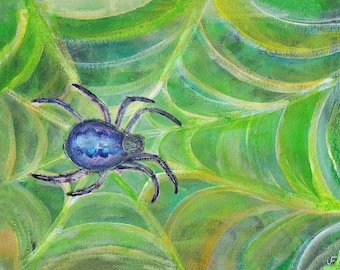 "8x10"" ART PRINT Spider in Web Folk Art Painting Nature Housewarming Friend Gift Whimsical Illustration Home Decor Birthday Gifts Arachnid"