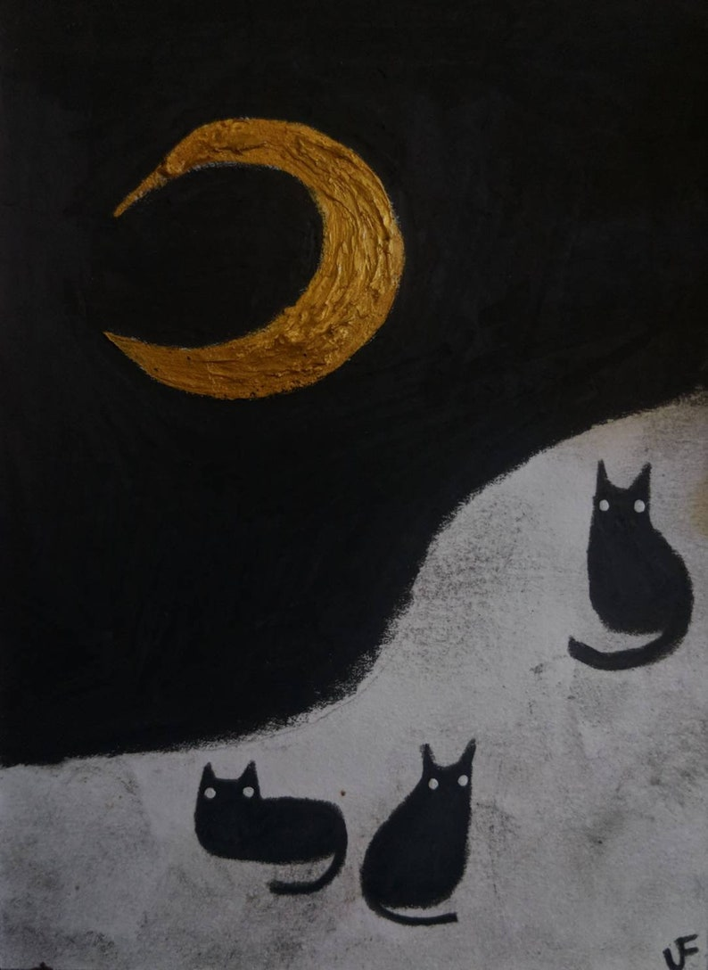ORIGINAL ACEO Black Cats Under Night Sky Funny Cat Art Gifts image 0
