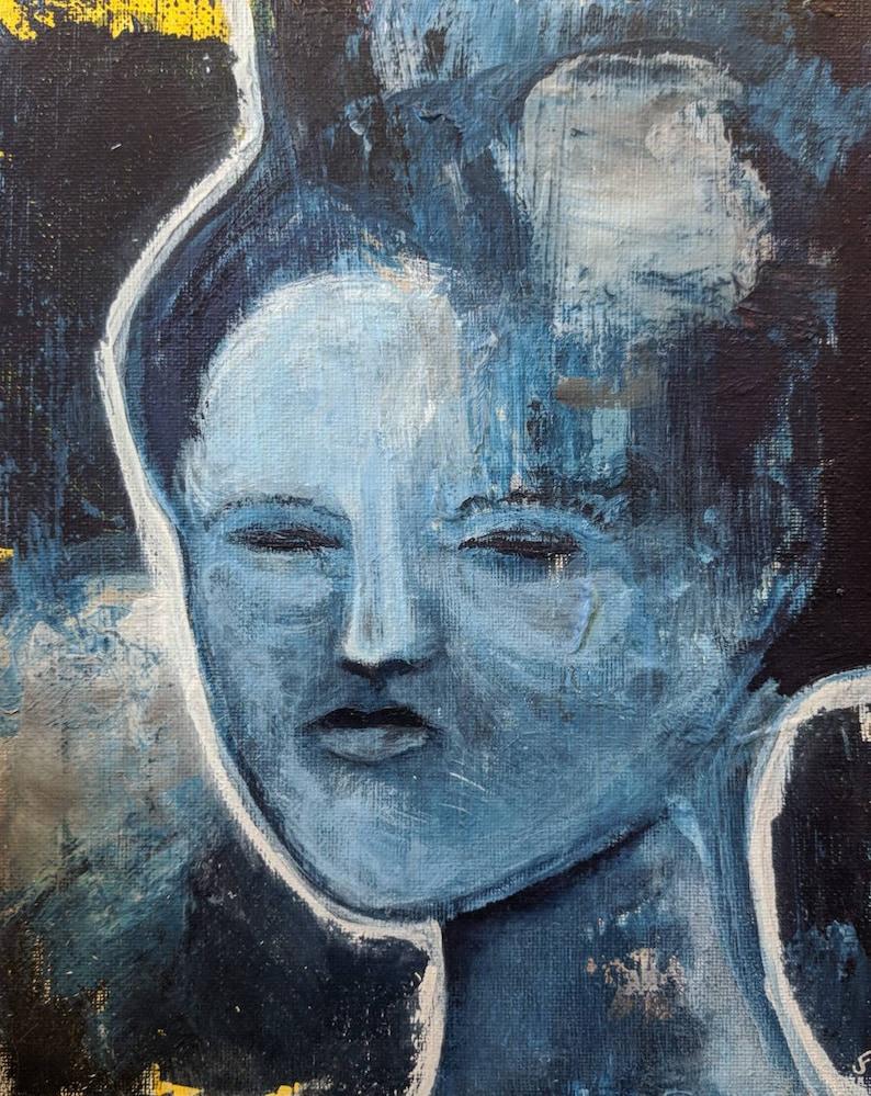 8X10 Abstract Art Original Painting Impressionist Portrait image 0