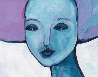 "8x10"" ART PRINT Portrait Folk Art Acrylic Painting Abstract Outsider Face Wall Art Hallway Home Decor Housewarming Birthday Gift for Mom"