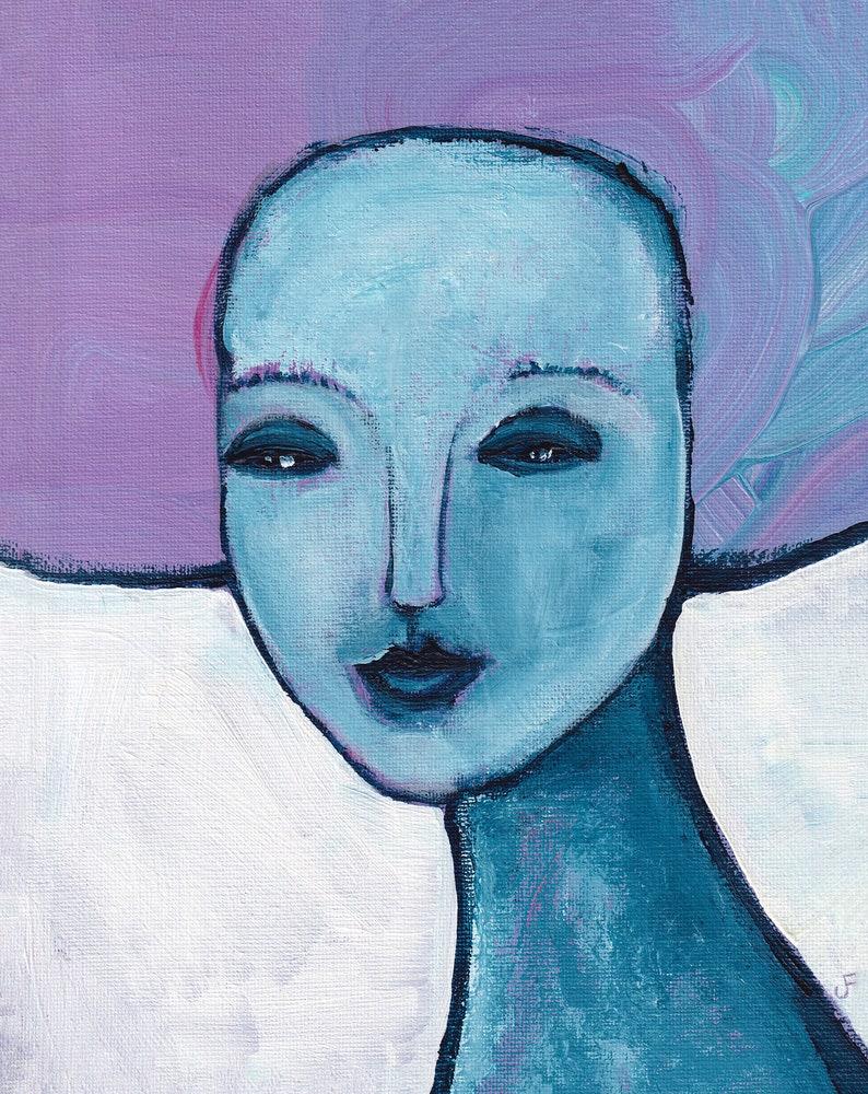 8x10 ART PRINT Portrait Folk Art Acrylic Painting image 0