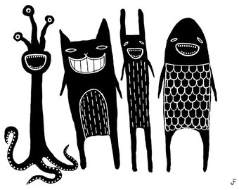"""8x10"""" ART PRINT Monster Folk Art Painting Funny Birthday Gifts Wall Art Whimsical Gift for Mom Home Decor Weird Easy Unique Gift Ideas"""