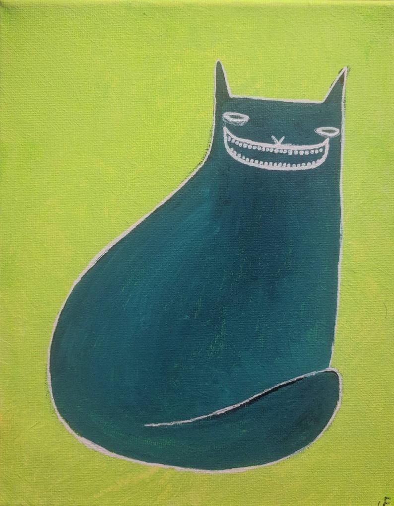 Original Cat Painting on Canvas 8x10 Folk Art Outsider Cat Art image 0