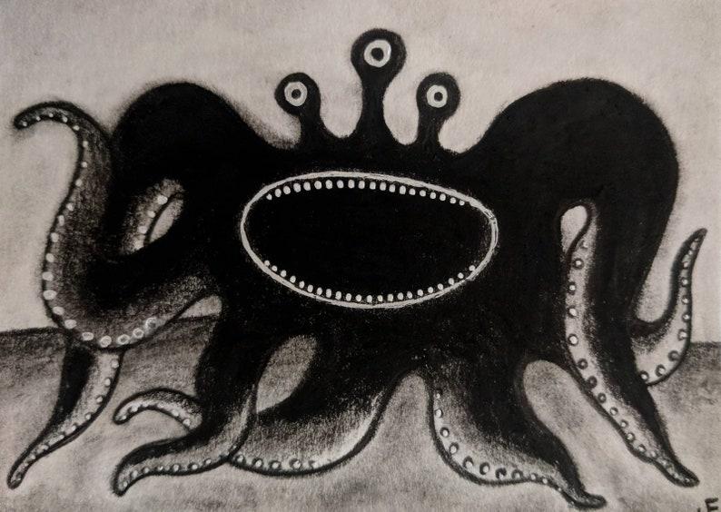 Original Illustration Monster ACEO Outsider Folk Art Miniature image 0