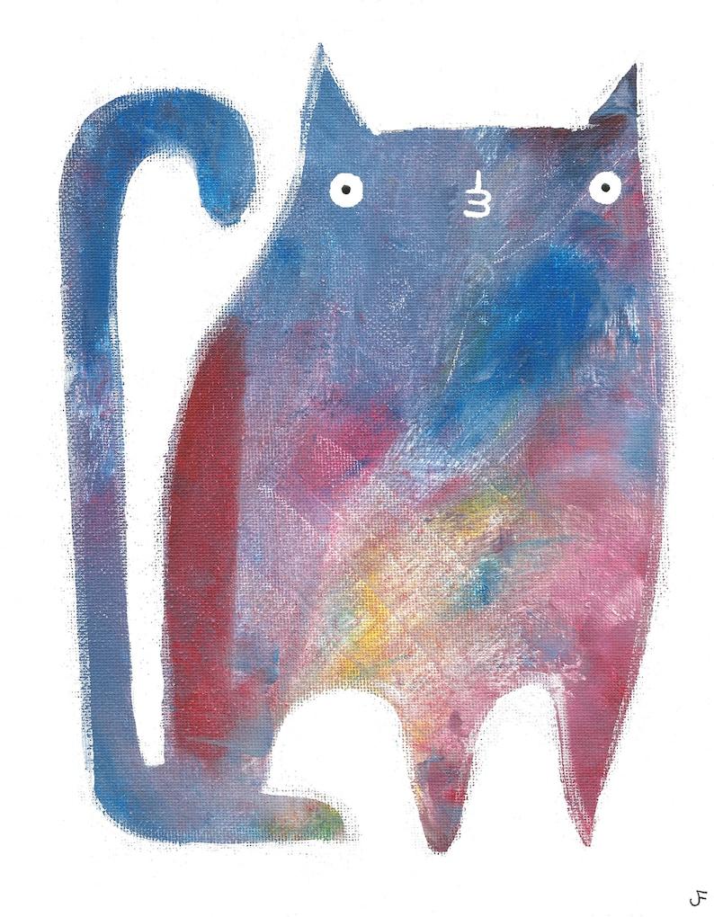 8x10 ART PRINT Cat Folk Art Painting Quirky Art image 0