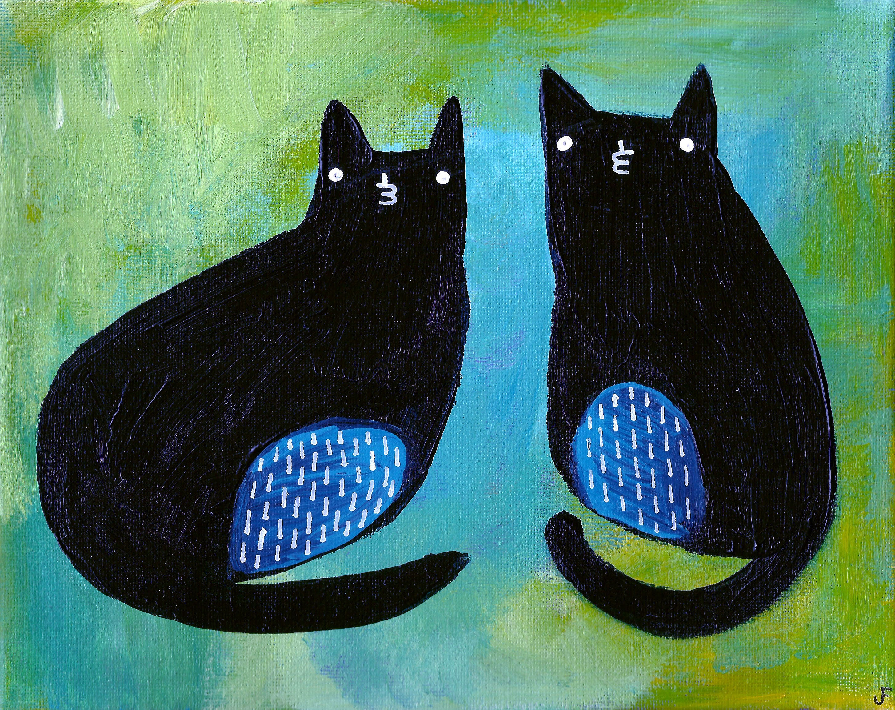 8x10 ART PRINT Cat Folk Art Painting Quirky Art Whimsical Wholesome Housewarming Home Decor Cat People Gift Weird Stuff Cute Birthday Gifts