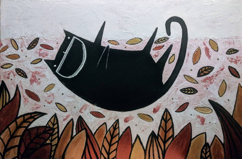 Original Painting 36x24 Cat Folk Art Stretched Canvas Outsider image 0