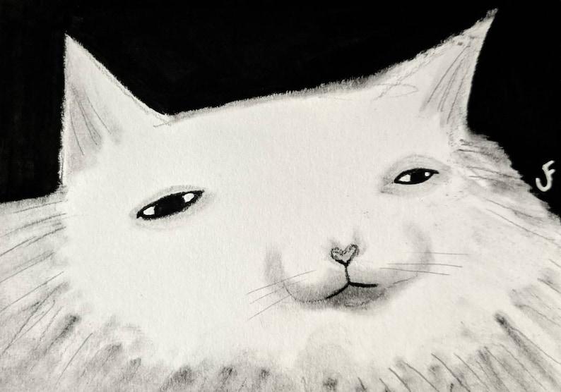 ACEO ORIGINAL ART White Cat Folk Outsider Art Cat Miniature image 0
