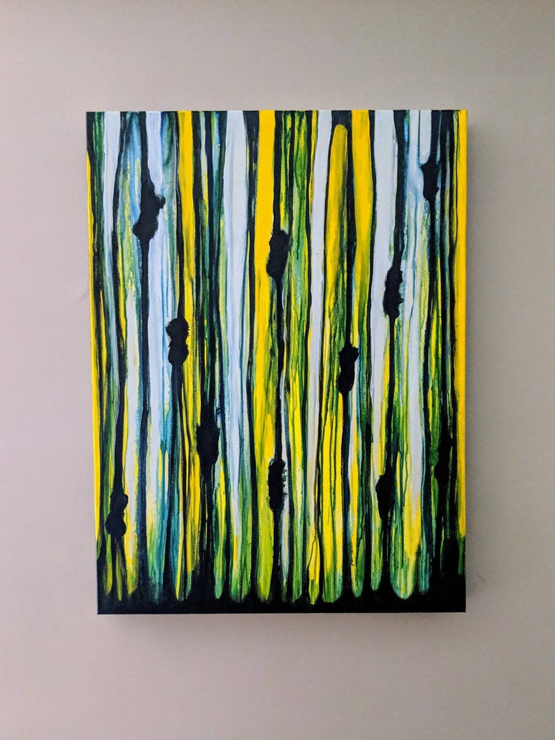 Original Abstract Painting Stretched Canvas 30x40 Folk Art image 0
